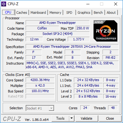 2970WXのCPU-Zの実行画面