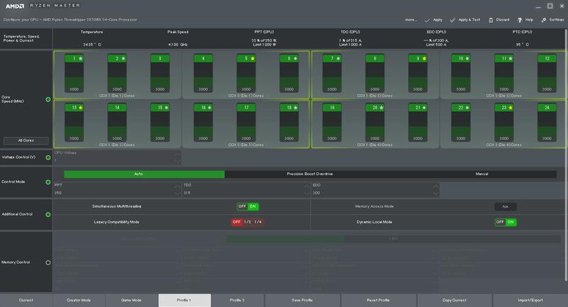 2970WXで起動したベータ版Ryzen Master 1.5。Additional Controlの項目に新機能「Dynamic Local Mode」が追加された。Dynamic Local Modeは標準でオンになっている