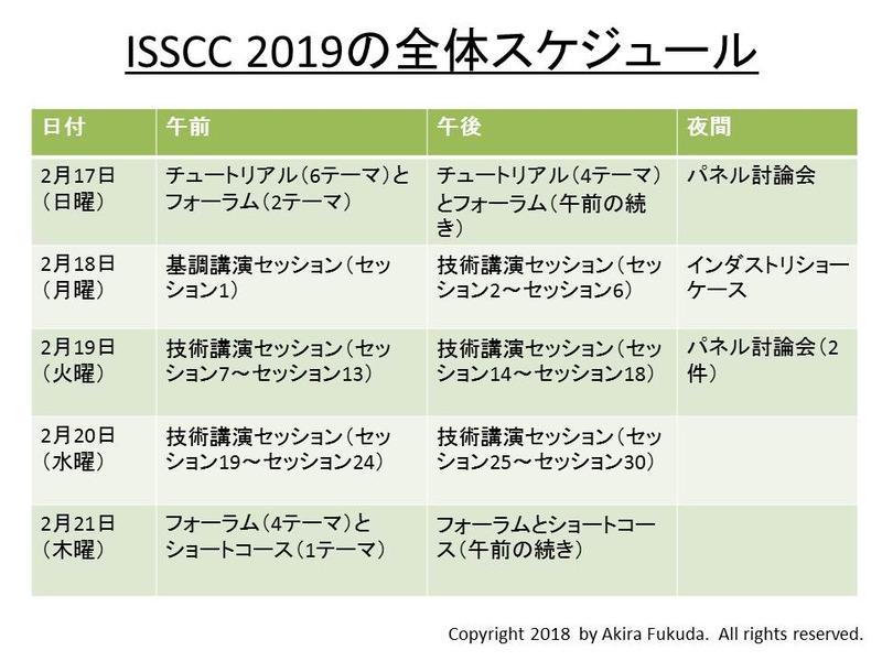 ISSCC 2019の全体スケジュール。2月18日~20日のメインイベントの前後に1日ずつ、サブイベントを設けている。構成としては前回とほぼ同じだ