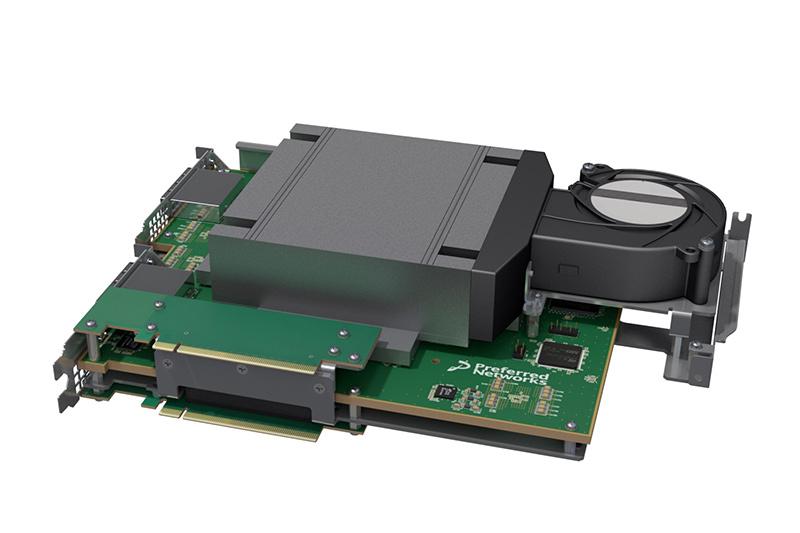 MN-Core実装用のPCIeボード。32GBのメモリを備える