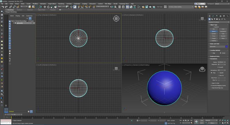 右側コマンドパネルからSphere(球体)を選択してビューポート内にてマウスドラッグで作成
