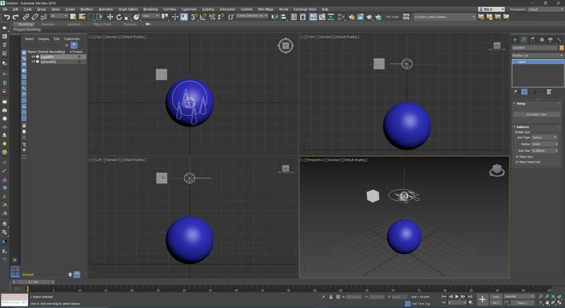 流体アイコンを選択したまま、右側の左から2番目のModify(修正)タブを選びSimulation View(シミュレーションビュー)をクリック。Simulation View(シミュレーションビュー)ダイアログウインドウが現れる