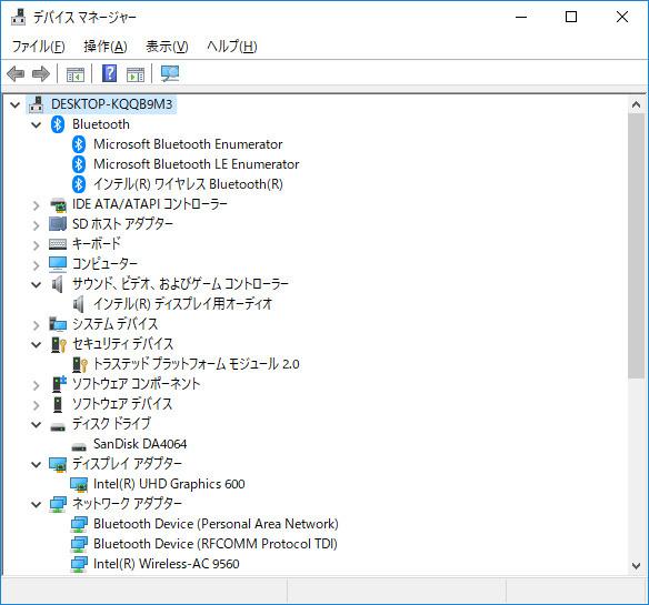 デバイスマネージャ/主要なデバイス。ストレージはeMMC 64GBの「SanDisk DA4064」。Wi-Fi(Wireless AC9560)とBluetoothはIntel製