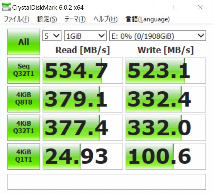 Eドライブ(評価機ではMicron 1100 MTFDDAK2T0TBN 2TB)のCrystalDiskMarkのスコア