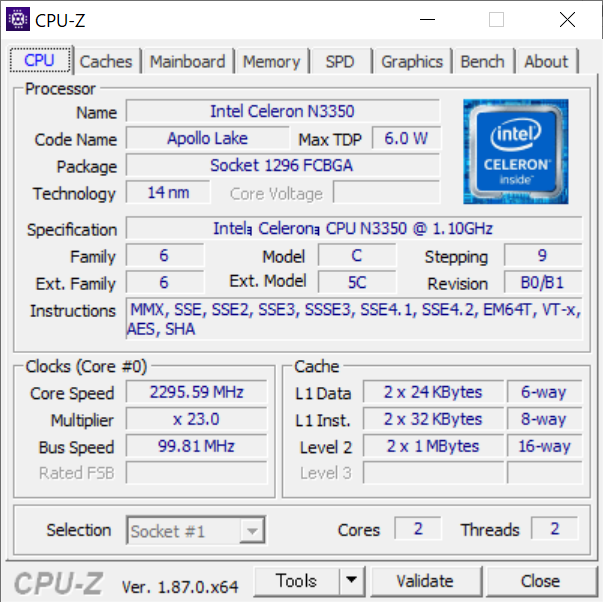 CPU-Zの実行結果