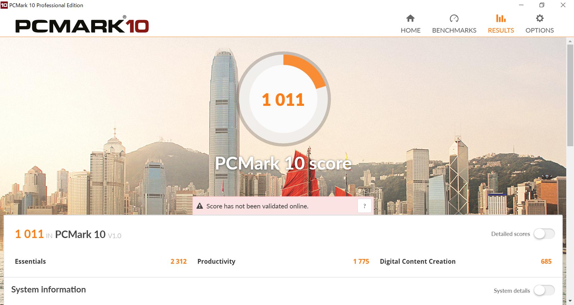 PCMark 10のスコアは1,011