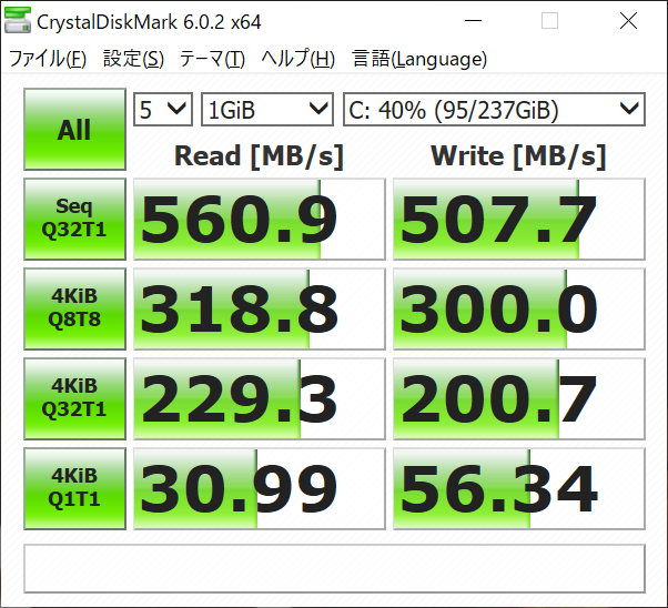Cドライブ(Intel SSD 545s 256GB)のCrystalDiskMarkの結果。Serial ATA 3.0接続なのでシーケンシャルリード/ライトは実質的に上限。4KiB Q8T8が300MB/s、Q32T1が200MB/sと、このあたりが比較的高速だ