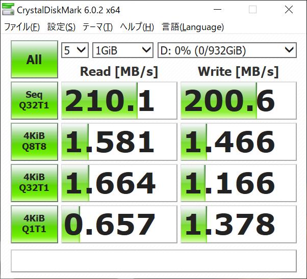 Dドライブ(Seagate ST1000DM010 1TB)のCrystalDiskMarkの結果。7,200rpmモデルとあって、シーケンシャルリード/ライトは200MB/s出ていた