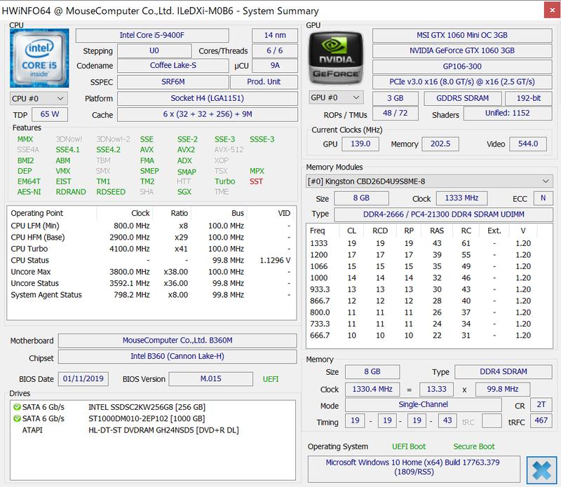 HWiNFO64での各部の情報。CPU-Zなど一部の情報表示ツールでは、Core i5-9400FがCore i5-9400と表示されることもある
