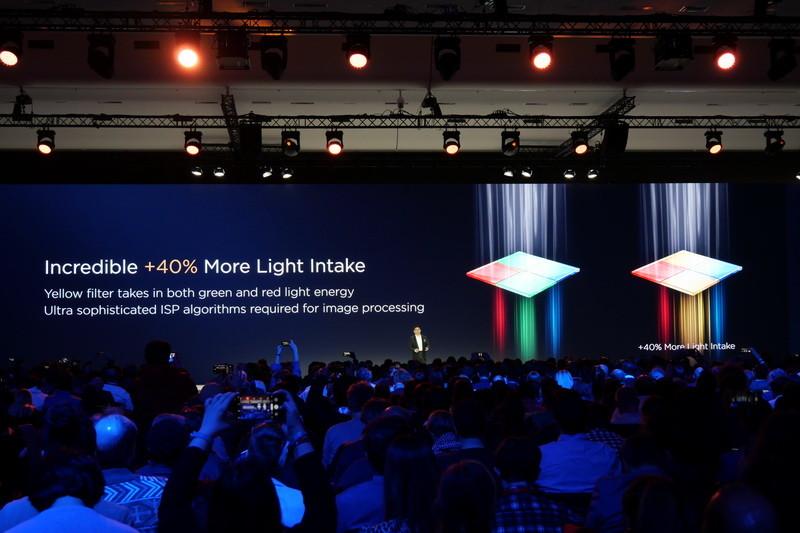 広角レンズの撮像素子は、世界初のRYYBセンサーを採用。RGGBセンサーに比べて40%多く光を取り込めるため、暗所撮影性能が高められている