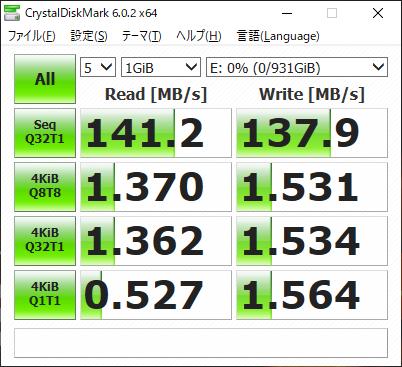 同様に、セカンダリドライブ(E)の転送速度。2.5インチHDDなりだが140MB/s前後のシーケンシャルならデータ用には十分か