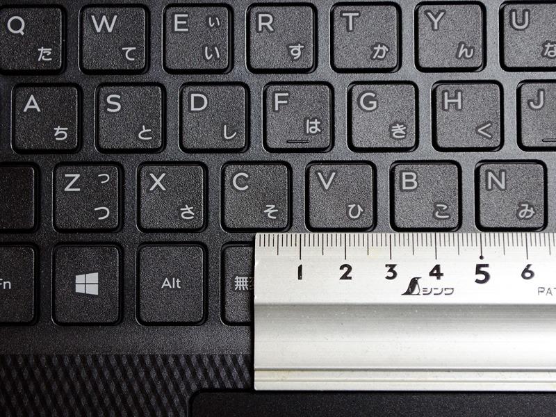 主要キーのキーピッチは約19mm。[¥]と[Backspace]キーのピッチがせまいのが気になるところか