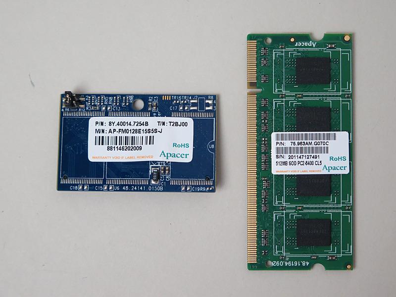 メモリとSSDともにApacer製。前者はDDR2-800で容量は512MB、後者はIDE接続で128MB。一般的なPCの容量関係とは逆だ