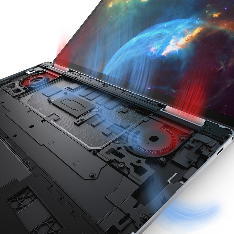 新しいデュアルファンの採用でYプロセッサからUプロセッサへ(写真提供 : Dell)