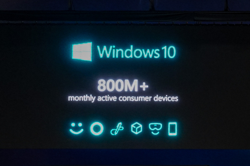 Windowsのアクティブデバイス数は8億台に