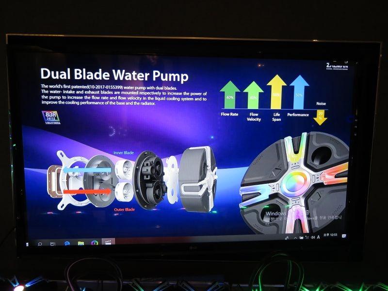 簡易水冷のReseratorシリーズ。液体をヘッドに送るほうと吸い出すほう両方にブレードを設け、流量を高めている