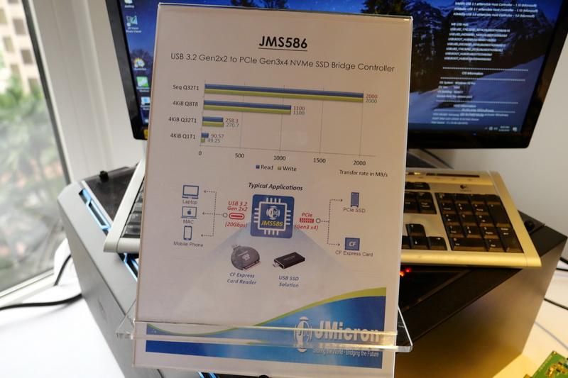 PCIe Gen3 x4/NVMe SSDに対応するUSB 3.2 Gen2x2ブリッジチップ「JMS586」の仕様