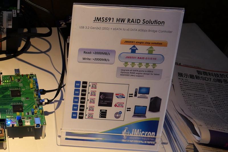 USB 3.2 Gen2x2またはeSATAとSATA 6Gbps×5 RAIDのブリッジチップ「JMS591」の仕様。USB 3.2 Gen2x2接続でリード、ライトとも2,000MB/sでRAIDボリュームにアクセスできる