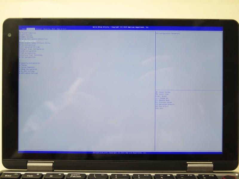BIOSは横表示だが、これは回転が加わっている