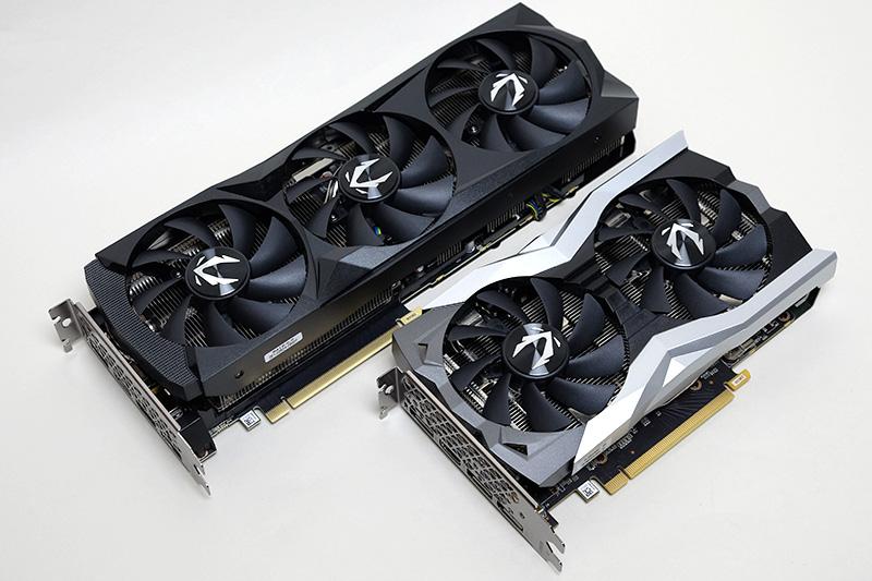 「ZOTAC GAMING GeForce RTX 2070 SUPER AMP Extreme」(上)と「ZOTAC GAMING GeForce RTX 2060 MINI」(下)