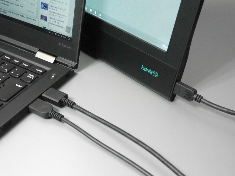 PC側はHDMI/USB、本製品側はMini HDMIで接続する。USBは給電のほか後述のタッチ信号の伝送に使用する