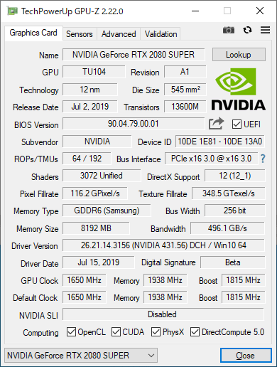 GeForce RTX 2080 SUPERのGPU-Z実行画面