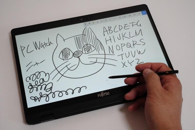 書き心地はやや硬め。柔らかいペン先が好みなら、ワコムのAES規格に対応した他社製デジタイザペンを試してみよう。筆者は「Dell Premium Active Pen(直販価格14,796円)」で書けることを確認した。ただし傾き検知機能は利用できなかった