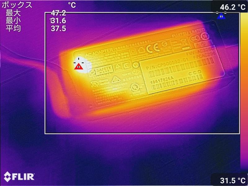 ACアダプタの最大温度は47.2℃
