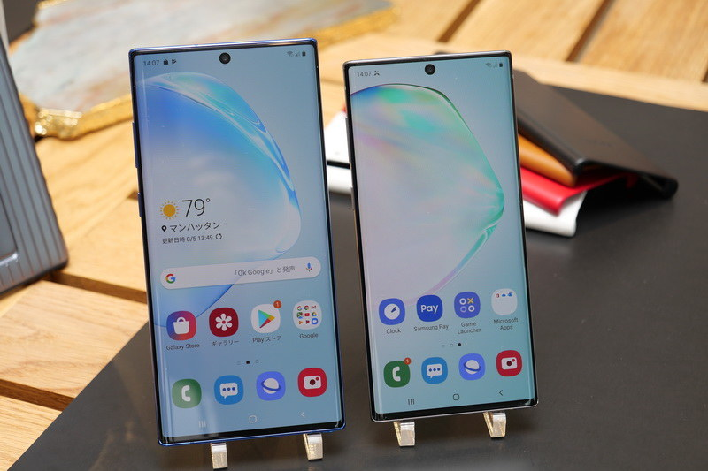 Galaxy Note 10は6.3型ディスプレイを採用し、Galaxy Note 10+よりひとまわりコンパクトな筐体を実現
