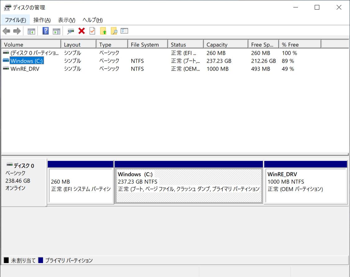 ストレージのパーティション。Cドライブのみの1パーティションで約237.23GBが割り当てられている
