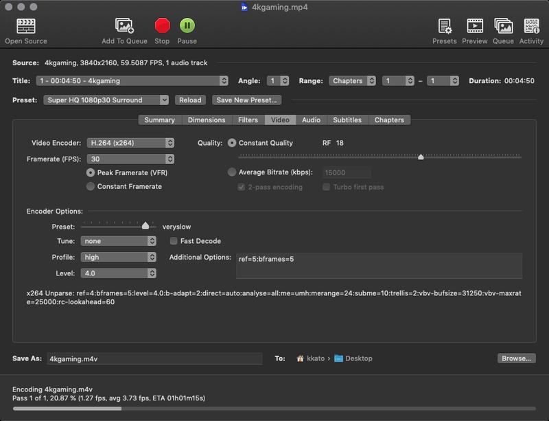 「Handbrake」では4KのMP4動画からフルHDのM4V形式に書き出す時間を計測した