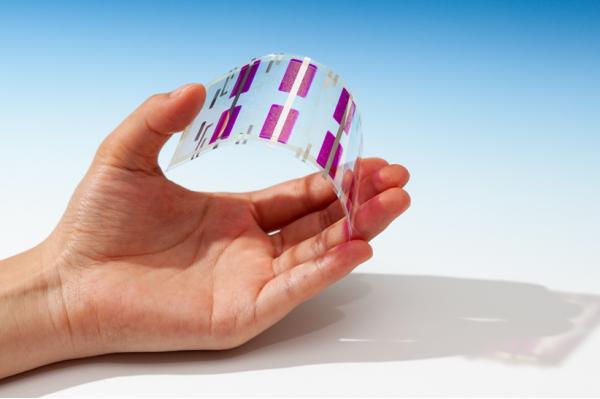 開発したフィルム型光センサー(厚さ:100μm)