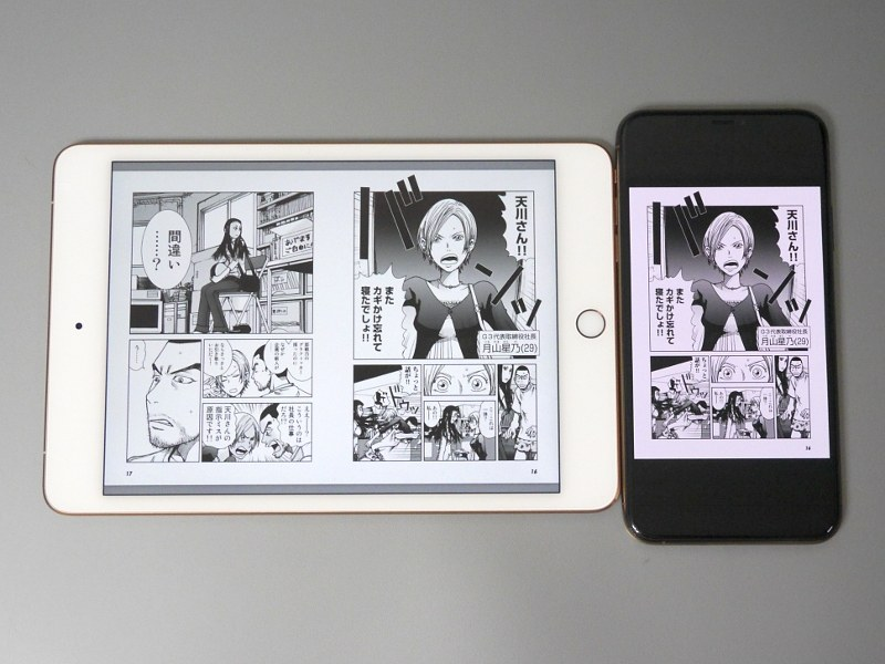 iPad mini(第5世代)(左)との比較。見開き表示にしても、本製品よりページサイズは大きい