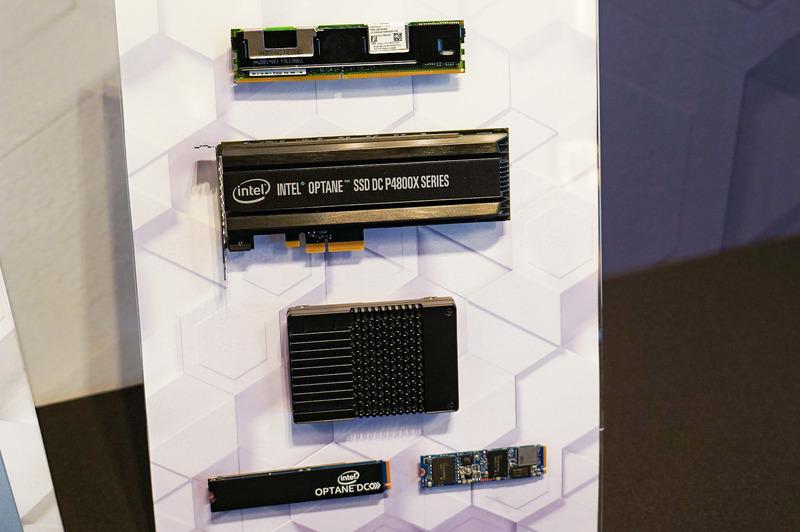 各種のOptane製品、一番上がOptane DC Persistent Memory、PCI Expressカード、2.5インチ、M.2などのフォームファクタはOptane SSD