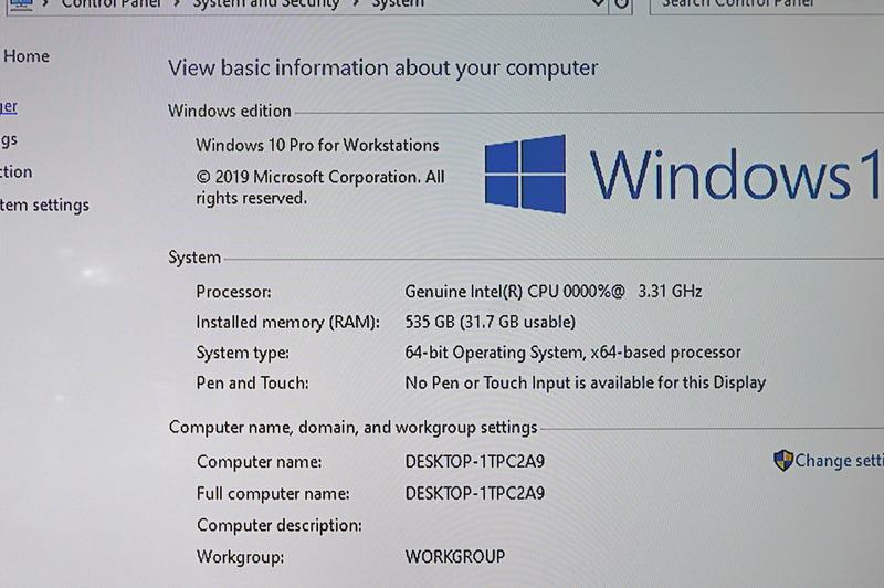 Windowsのシステムプロパティ、535GBのメインメモリがあることになっている