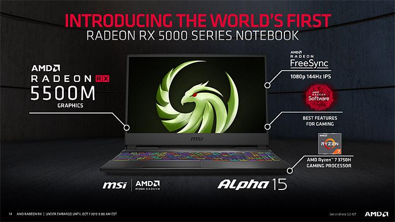 MSIのRadeon RX 5500M搭載ノート、Alpha 15