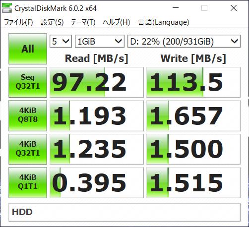 「CystalDiskMark」による読み書き性能。上がSSD、下がHDD