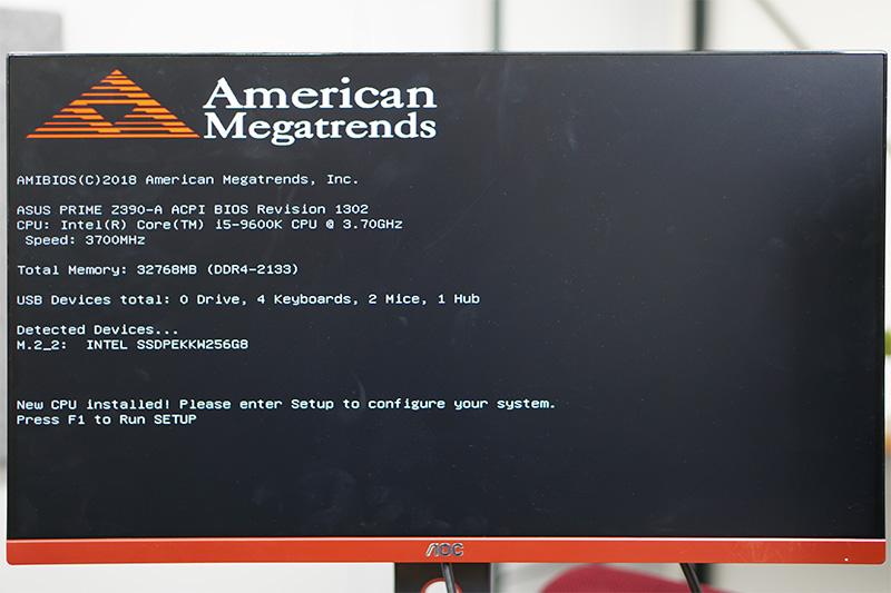 CPU、メモリ、SSDとも正常に認識されている