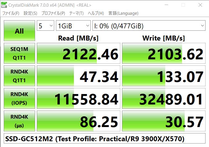 テストプロファイル: 現実性能 (テスト内容や表記単位がデフォルトプロファイルと異なるため注意)