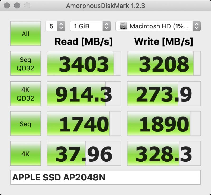 「AmorphousDiskMark」のテスト結果。左が8月に計測した旧15インチモデルのもの、右がMacBook Pro 16インチモデルのもの。この2つのスクリーンショットはソフトのバージョンが異なる