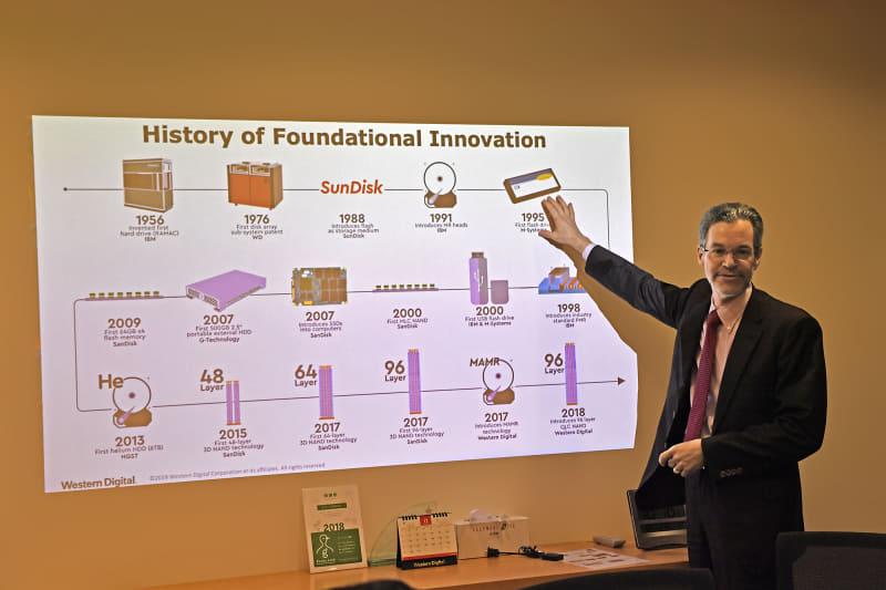 ウエスタンデジタルのもとに集ったストレージ技術の進化の歴史を解説するスウィージー氏。ご自身もストレージ業界再編の歴史を経て現職にいたる