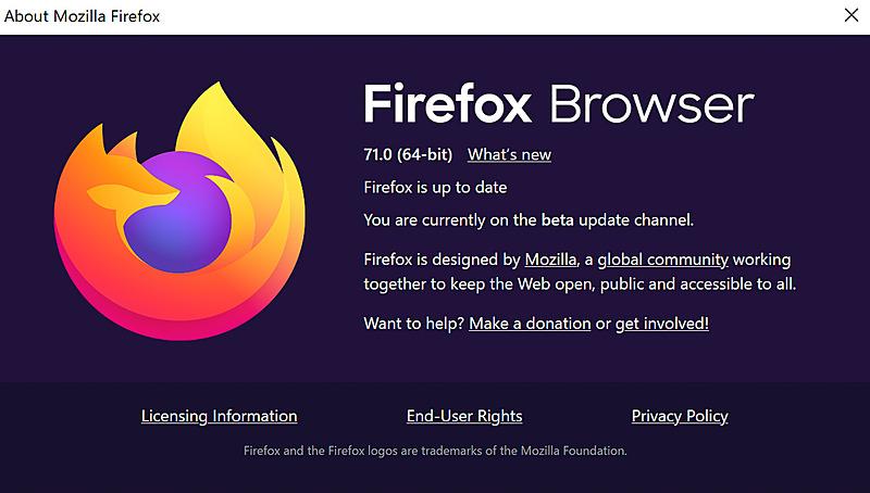 FirefoxのArm64bit版のバージョン表示
