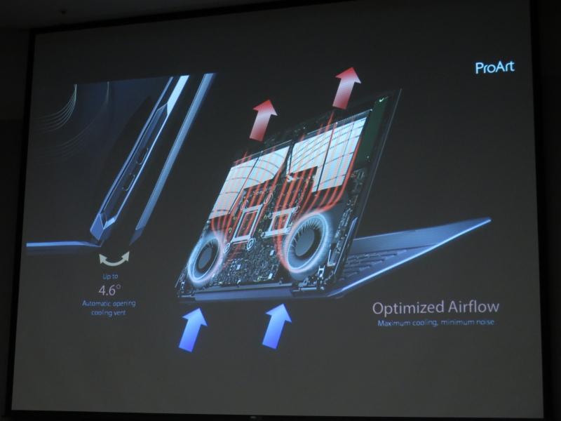 底面から吸気して上部に排気する機構を採用。液晶を開くと自動的に天板に隙間が開いて給気口面積を増やす