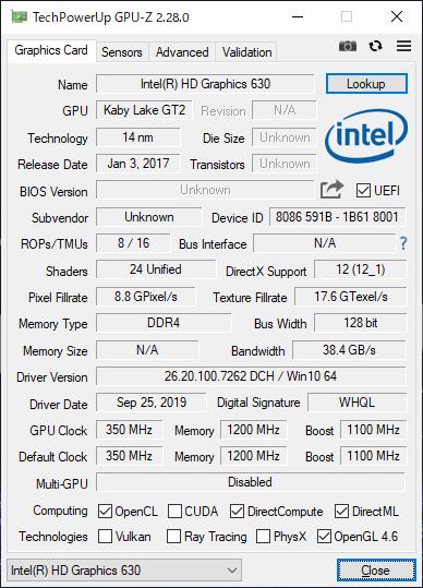 「GPU-Z」で確認。こちらはIntel HD Graphics 630