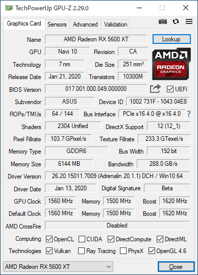 ASUS ROG-STRIX-RX5600XT-O6G-GAMINGのGPU-Z実行画面