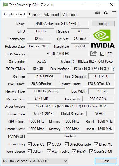 ASUS ROG-STRIX-GTX1660TI-O6G-GAMINGのGPU-Z実行画面