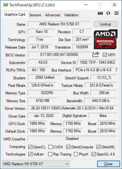 ASUS ROG-STRIX-RX5700XT-O8G-GAMINGのGPU-Z実行画面