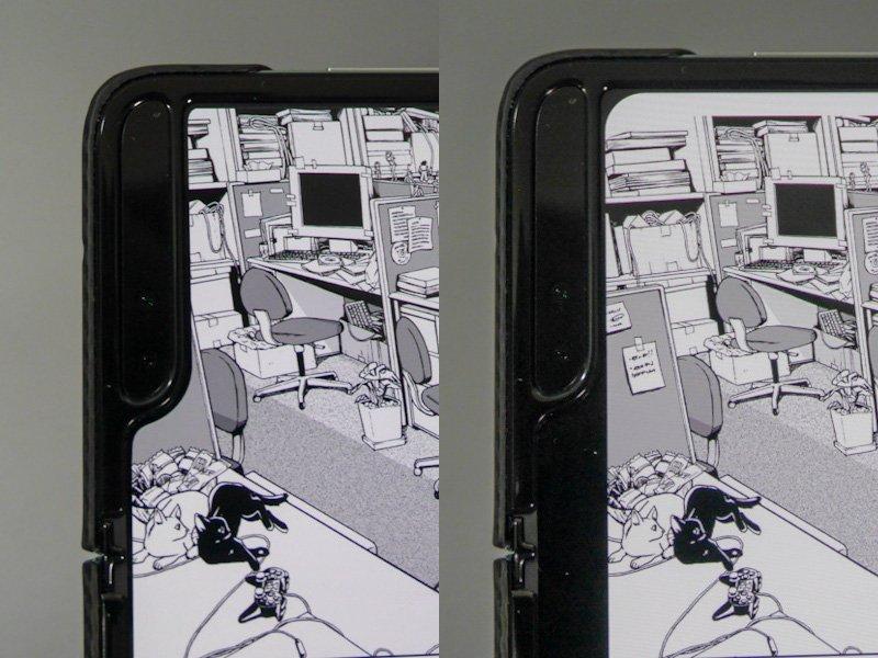 電子書籍ストアによっては余白が考慮されず、カメラのあるノッチ部分が画面を隠すという、iPhone Xの登場直後に似た症状が起こる。左は楽天Kobo、右はKindle