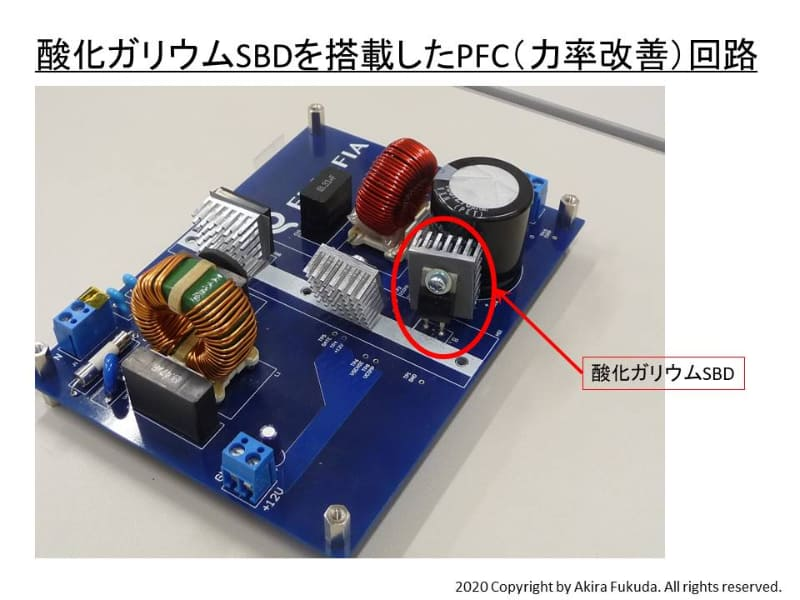 酸化ガリウムSBDを搭載した力率改善(PFC)回路のモジュール。2020年3月12日に筆者が撮影