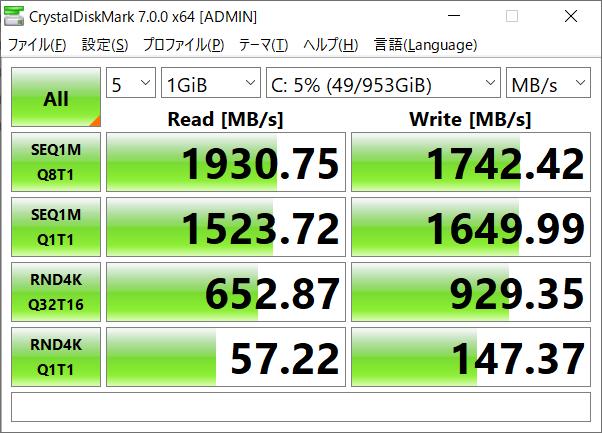 ストレージは1TBのNVMe SSD。転送速度は2GB/s弱で十分なスピード